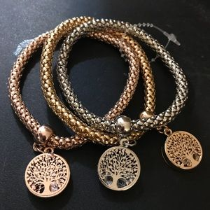 Jewelry - Set of Three Tree of Life Bangle Bracelets